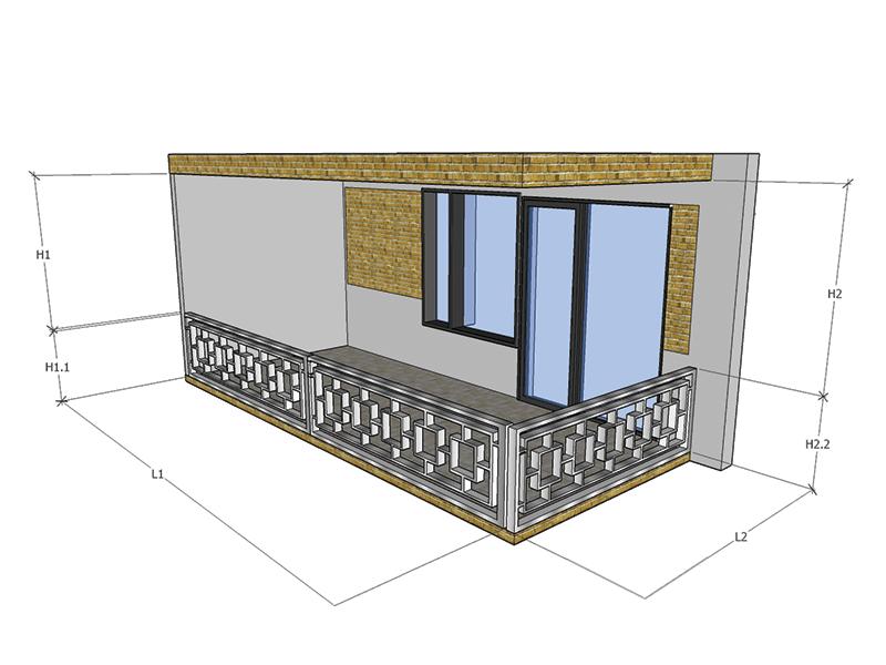 Balcon 2 Laturi Balustrada Interioara